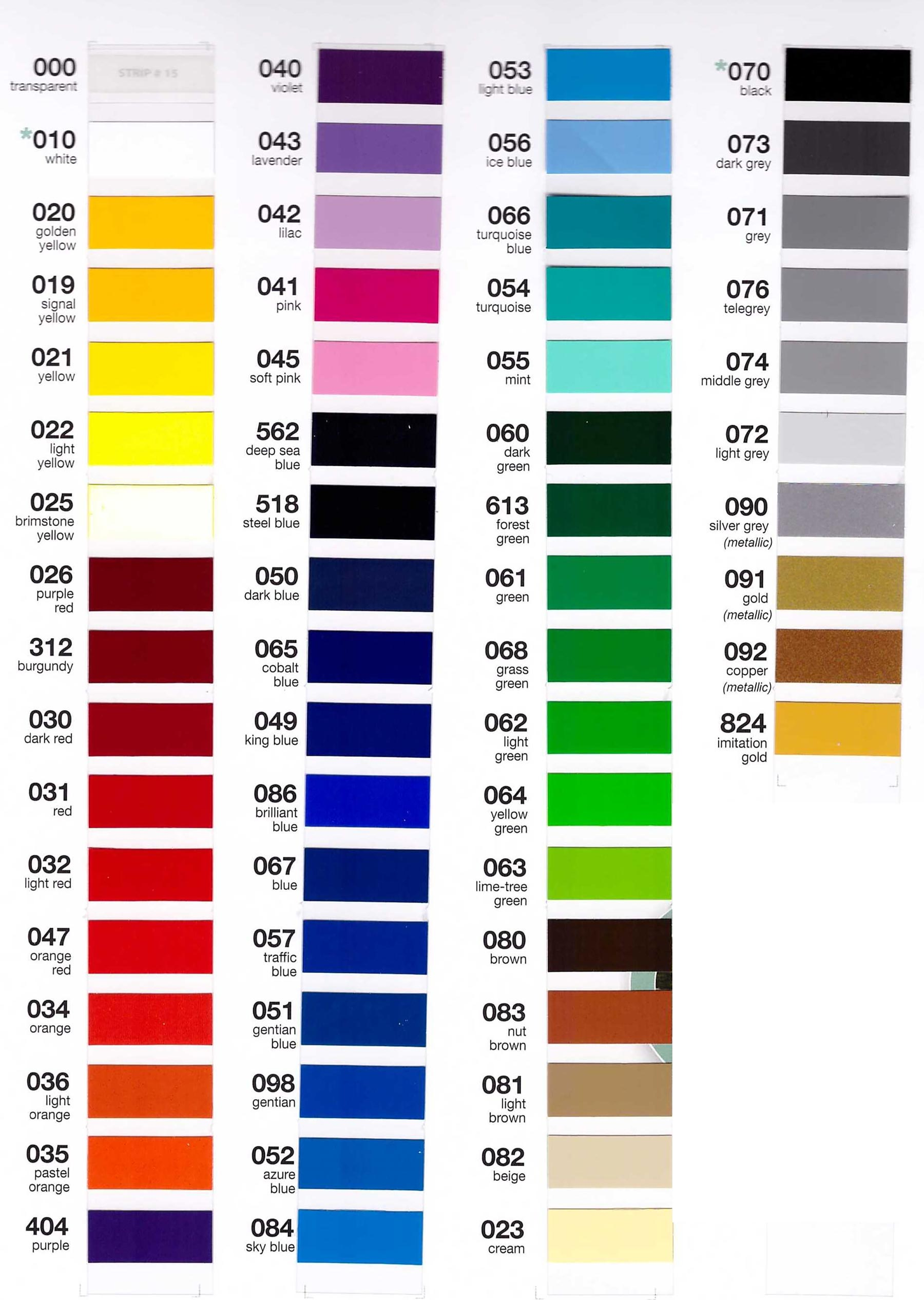 Intermediate Vinyl Color Chart